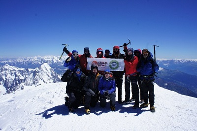 Team photo at the top of Mont Blanc